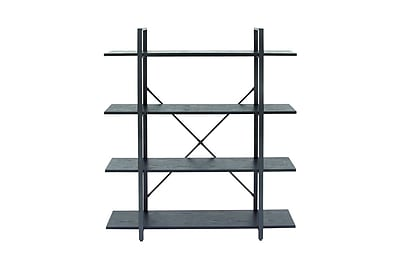 Cole & Grey Metal and Wood 55'' Etagere Bookcase; Black