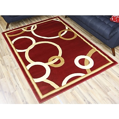 Beyan Passion Red/Gold Area Rug; 7'10'' x 10'2''