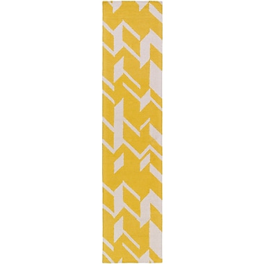 Artistic Weavers Hilda Annalise Hand-Crafted Yellow/White Area Rug; 3' x 5'