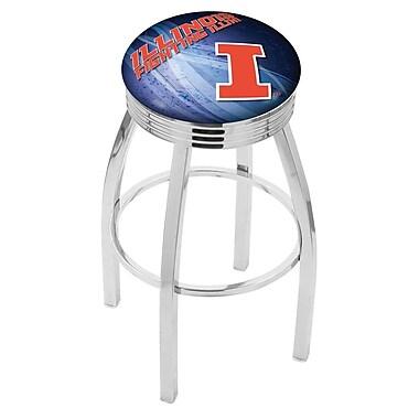 Holland Bar Stool NCAA 25'' Swivel Bar Stool w/ Cushion; Illinois Fighting Illini