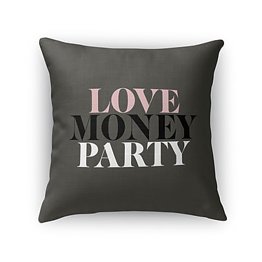 Kavka Love, Money, Party Burlap Throw Pillow; 16'' H x 16'' W x 5'' D