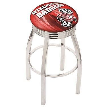 Holland Bar Stool NCAA 25'' Swivel Bar Stool w/ Cushion; Wisconsin Bucky Badger