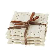 Creative Co-Op Pure Square Bone and MDF Coasters (Set of 4)
