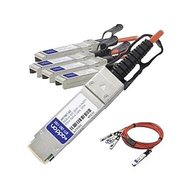 AddOn® 40GBase-AOC QSFP+ to SFP+ Direct Attach Cable, 16.4', Orange (QSFP-4X10G-AOC5M-AO)