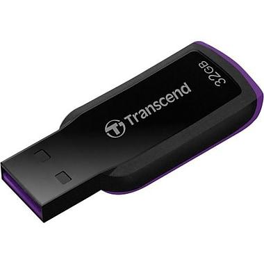 Transcend® JetFlash®360 32GB 18 MBps Read/6 MBps Write USB 2.0 Flash Drive, Black/Purple (TS32GJF360)