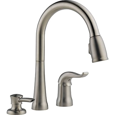 Delta Kate Single Handle Kitchen Faucet w/ Soap Dispenser; Brilliance Stainless