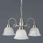 "Yosemite Manzanita 13"" x 24"" 3-Light Chandelier W/Frosted White Marble Glass, Satin Nickel"