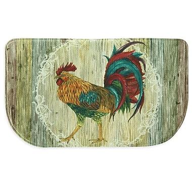 Bacova Guild Rooster Strut Memory Foam Slice Kitchen Mat; 1'8'' x 4' 7''