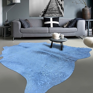Rug Factory Plus Graceful Luminous on Soft Hand-Woven White/Blue Area Rug
