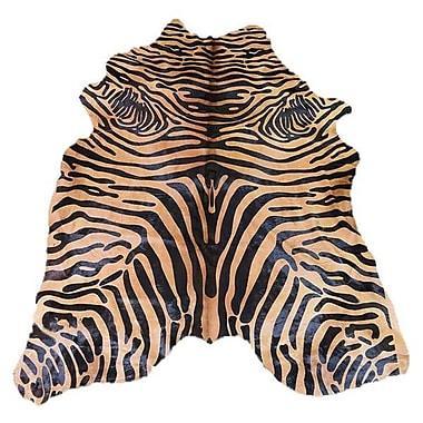 Rug Factory Plus Astonishing Soft Zebra Design Vibrant Hand-Woven Black/Caramel Area Rug