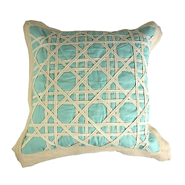 Patina Vie Patina Vie Vintage Caning Sea Linen Throw Pillow; Sea