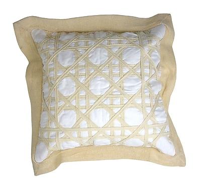 Patina Vie Patina Vie Vintage Caning Sea Linen Throw Pillow; White