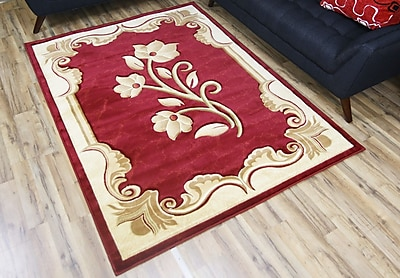 Beyan Rosa Red/Cream Area Rug; 7'10'' x 10'2''
