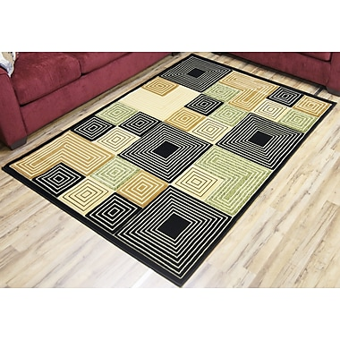 Beyan Rosa Black/Green Area Rug; 5'3'' x 7'5''