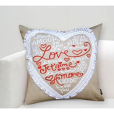 A1 Home Collections LLC Handcrafted Sentiment in Love Jetai'me Cotton Throw Pillow