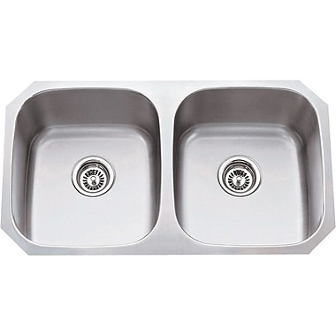 Hardware Resources 14.5'' x 13'' Double Bowl 18 Gauge Stainless Steel Kitchen Sink