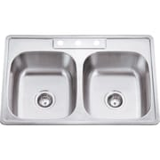 Hardware Resources 33'' x 22'' Double Bowl 20 Gauge Stainless Steel Drop In Kitchen Sink