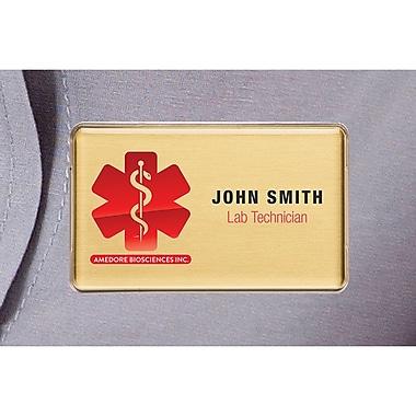 The Mighty Badge – Trousse de porte-noms pour imprimantes au laser, 1,5 po x 2,75 po, or, paq./10 (906868)