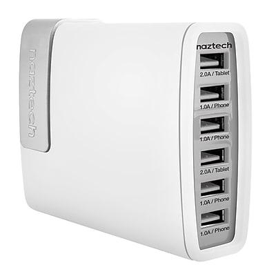 Naztech® Turbo Universal Power Bank, 12500 mAh, White/Gray, 6 USB (PB6)