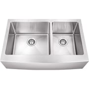 Hardware Resources 35.88'' x 20.75'' Double Bowl 16 Gauge Stainless Steel Farmhouse Kitchen Sink