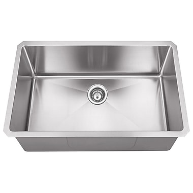 Hardware Resources 32'' x 19'' Single Bowl 16 Gauge Stainless Steel Kitchen Sink