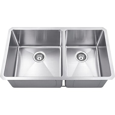 Hardware Resources 32'' x 19'' Double Bowl 16 Gauge Stainless Steel Kitchen Sink