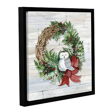 Gracie Oaks 'Holiday Wreath on Wood' Square Framed Graphic Art on Wrapped Canvas