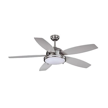 Vaxcel 52'' Tali 5 Blade LED Fan; Satin Nickel with Silver Blades