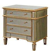 Wildon Home   3 Drawer Chest; Gold & Clear Mirror