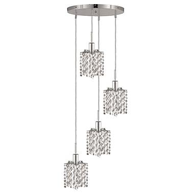 Rosdorf Park Kruse Contemporary 4-Light Round Canopy Pendant; Crystal (Clear) / Elegant Cut