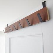 Yamazaki USA 7 Hook Overdoor Wall Mounted Coat Rack; Brown / Black