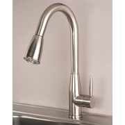 BuildersShoppe Single Handle Deck Mounted Kitchen Faucet; Stainless Steel