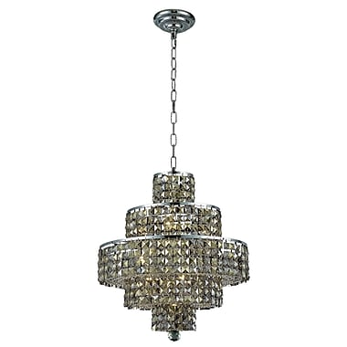 Rosdorf Park Bratton Modern 13-Light Crystal Chandelier; Golden Teak (Smoky) / Royal Cut