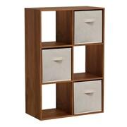 Homestar 35'' Cube Unit w/ Fabric Bins Bookcase; Wheat  Alder