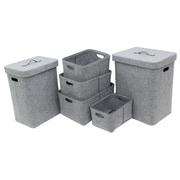 Cathay Importers Felt Laundry Hamper and Basket Set, Grey, 6/Set