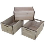 "Cathay Importers Rectangular Wood Storage Crate with Metal Frame, 11.5"" x 8"" x 5.5""H, Grey, 3/Set"