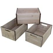 Cathay Importers – Caisse de rangement en bois rectangulaire avec cadre en métal, 11,5 x 8 x 5,5 haut. (po), gris, ens./3