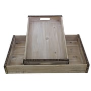 Cathay Importers Rectangle Wood Trays with Metal Frame, Grey, 2/Set