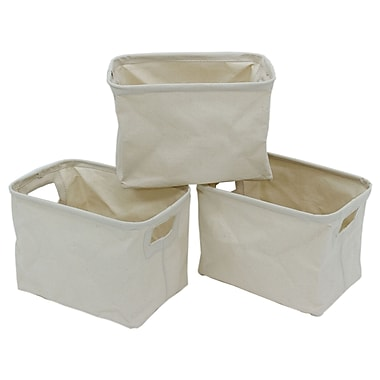 Cathy Importers – Panier de rangement rectangulaire en toile, blanc, ens./3