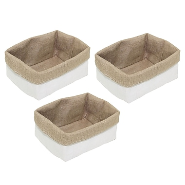 Cathay Importers Jute Reversible Rectangular Basket, Beige and White, 3/Set