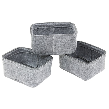 Cathay Importers Felt Rectangular Basket, Grey, 3/Set