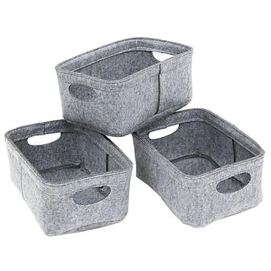 Cathay Importers – Panier rectangulaire en feutre, 12 x 8 x 5,5 haut. (po), gris, ens./3