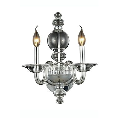 Rosdorf Park Elissa 2-Light Wall Sconce; Silver