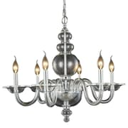 Rosdorf Park Elissa 6-Light Candle-Style Chandelier; Silver