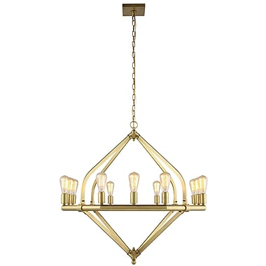 Brayden Studio Stansfield 12-Light Candle-Style Chandelier; Burnished Brass