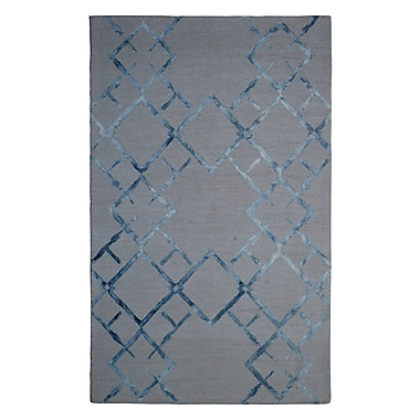 Eastern Weavers Wool Hand-Tufted Beige/Blue Area Rug; 5' x 8'