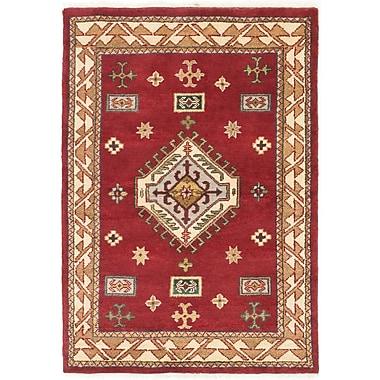 ECARPETGALLERY Royal Kazak Hand-Knotted Red/Beige Area Rug