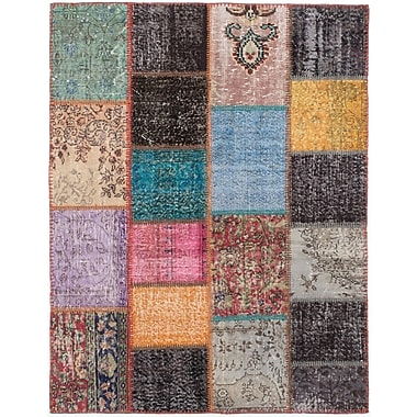ECARPETGALLERY Patch Hand-Knotted Black/Blue Area Rug