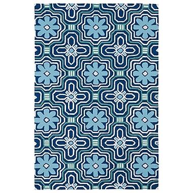Winston Porter Bette Hand-Tufted Blue Indoor/Outdoor Area Rug; 7'6'' x 9'