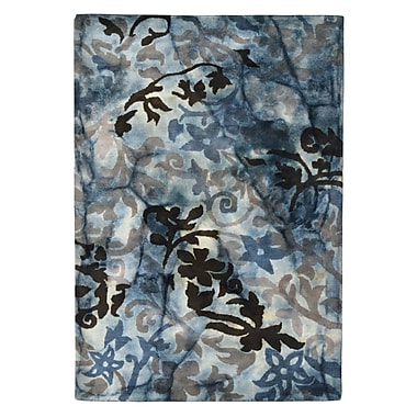 Eastern Weavers Wool Floral Hand-Tufted Blue/Brown Area Rug; 5' x 8'